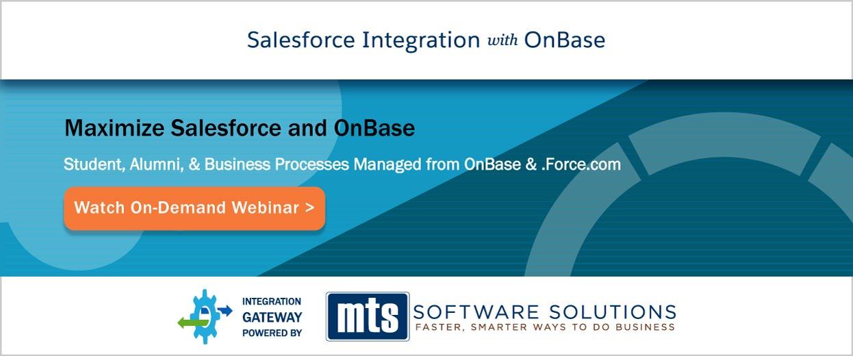 Banner Pop-under for Video On-Demand Webinar: Salesforce Integration with OnBase for Higher Education