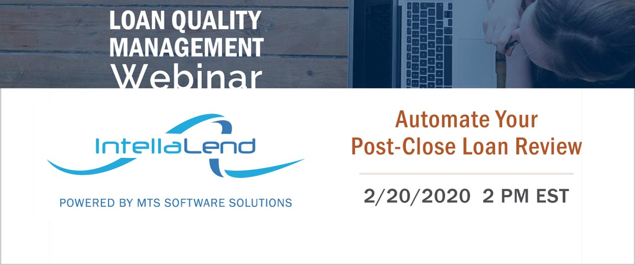 Banner Pop-under for Webinar: Automate Your Post-Close Loan Review, 2 pm EST on February 20, 2020