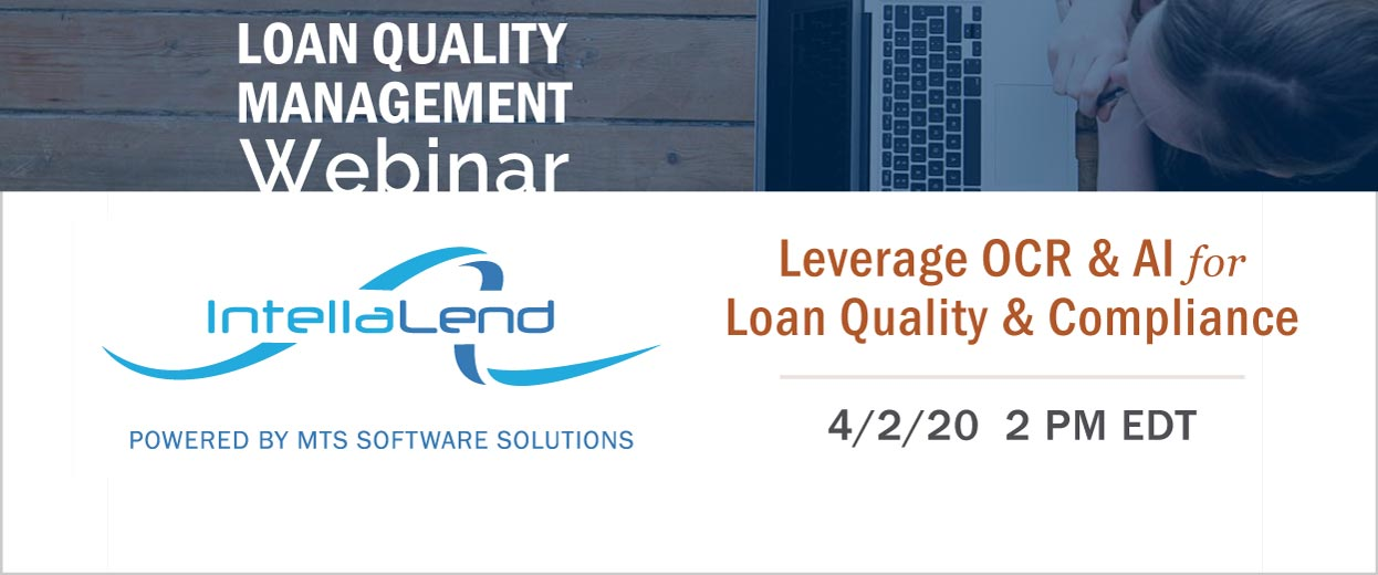 Banner Pop-under for Webinar: Leverage Optical Character Recognition (OCR) and Artificial Intelligence (AI) for Loan Quality and Compliance. April 2, 2020 2 PM EDT