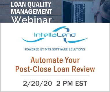 Banner rectangle for Webinar: Automate Your Post-Close Loan Review, 2 pm EST on February 20, 2020