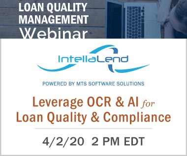 Banner Rectangle for Webinar: Leverage Optical Character Recognition (OCR) and Artificial Intelligence (AI) for Loan Quality and Compliance. April 2, 2020 2 PM EDT