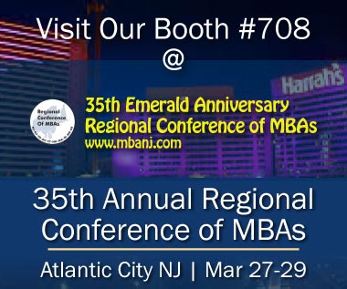Banner rectangle for Event: Visit Our Booth #708: 35th Emerald Anniversay Regional Conference of MBAs - March 27-29, 2018 - Atlantic City, NJ