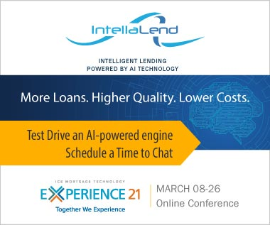 Banner Rectangle for Event: ICE Mortgage Technology Experience 21 Online Conference March 8-26. Request a Demo and Test Drive an AI-powered engine