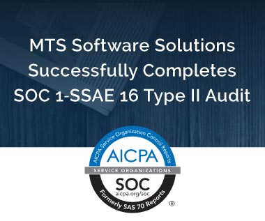 Banner rectangle for Press Release: MTS Software Solutions Successfully Completes SOC 1‐SSAE 16 Type II Audit