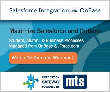 Banner Rectangle for Video On-Demand Webinar: Salesforce Integration with OnBase for Higher Education