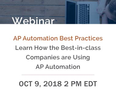Banner rectangle for Webinar: AP Automation Best Practices - Learn How the Best-in-class Companies are Using AP Automation, October 9, 2018 2PM EDT