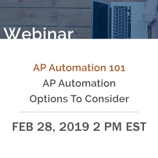 Banner rectangle for Webinar: AP Automation 101 Feb 28, 2019 2PM EST