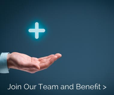 Banner Rectangle for Webpage: Careers, Job Benefits We Offer. Join Our Team and Benefit. Photo of had and plus sign.