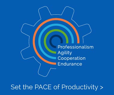 Banner Rectangle for Webpage: Set the PACE of Productivity with Our Core Values: Professionalism. Agility. Cooperation. Endurance.