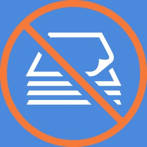 "Icon for ""Go Paperless!"" prohibition symbol over stack of documents"