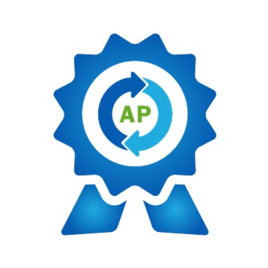 Icon of Best-in-class Accounts Payable Automation: 2 Ribbon Award with workflow circle of 2 elements around AP