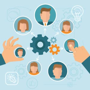 ShiftRuler illustration: hands moving people around gears - human resource management
